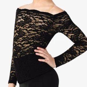Balera LA Sheer Lace Black Boatneck Long Sleeve